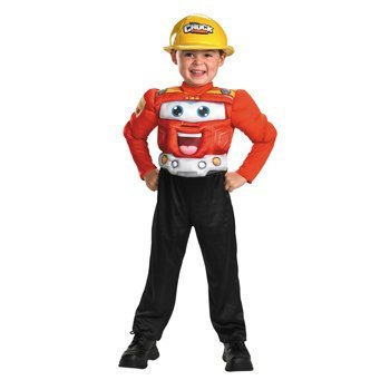 Disguise Hasbro Chuck And Friends Chuck Classic Muscle Costume, Red/Black/Silver/Yellow, Small