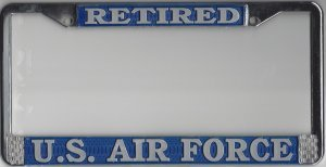 ) US Air Force Retired License Plate Frame (Chrome Metal) ()