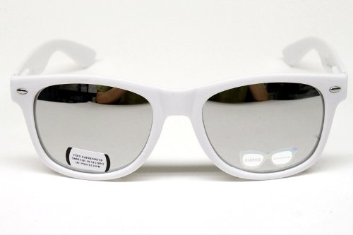 Vintage Retro Mirrored Sunglasses Unisex W110 White / - Sunglasses Gay