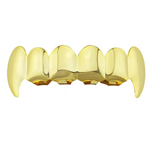 Teeth Grill,Electroplate Copper 6 Plating Shiny Grillz Teeth Hip Hop Teeth Top & Bottom Teeth Teeth Grill Christmas Halloween]()