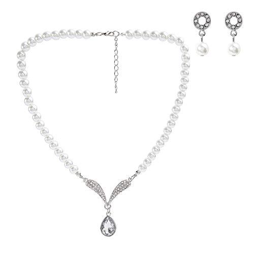 Rhinestone Pendant Necklace Earrings Jewelry Set for Bridal Wedding ()