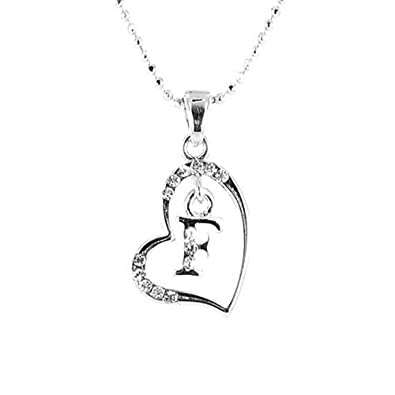 dbde604d77ee6d Clear Crystal on Silver Plated Initial Necklace - F: Amazon.co.uk: Jewellery