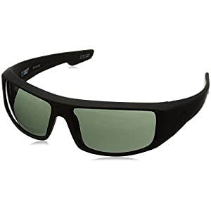 Spy Optic Logan 670939973863 Wrap Sunglasses, 60 mm (Soft Matte Black/Happy Gray/Green)