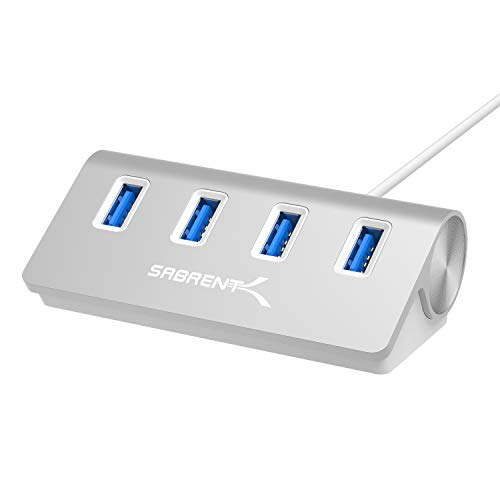 "Sabrent Premium 4 Port Aluminum USB 3.0 Hub (30"" cable) for iMac, MacBook, MacBook Pro, MacBook Air, Mac Mini, or any PC [Silver] (HB-MAC3)"