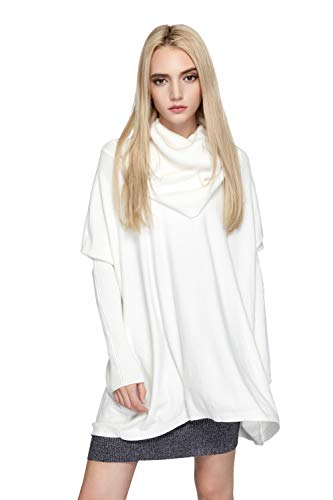 aters Cowl Neck Knitted Oversized Batwing Long Sleeve Cable Pullover Dress Top(White) ()