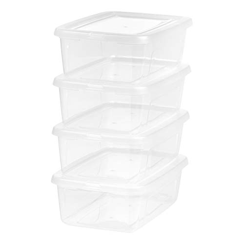 IRIS 6 Quart Modular Storage Box, 4 Pack, Clear