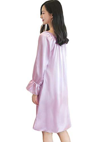 Color Lazo O Ropa Estilo Sólido Con Anchas Dormir Larga Purple Casuales Manga Cuello Vestido Bandage Camison De Mujer Camisón Especial wXPgrq8Xx