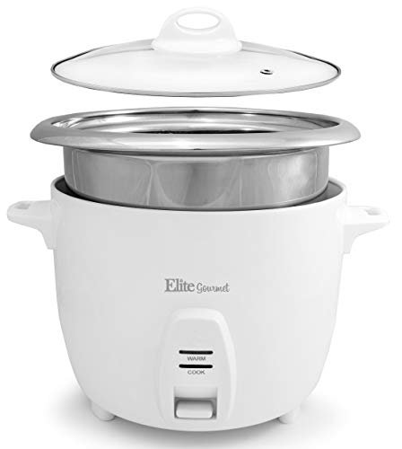Elite Gourmet ERC-2020 Electric Rice Cooker with Stainless Steel Inner Pot Makes Soups, Stews, Grains, Cereals, 20 Cooked (10 Cups Uncooked), Cups Cups), White