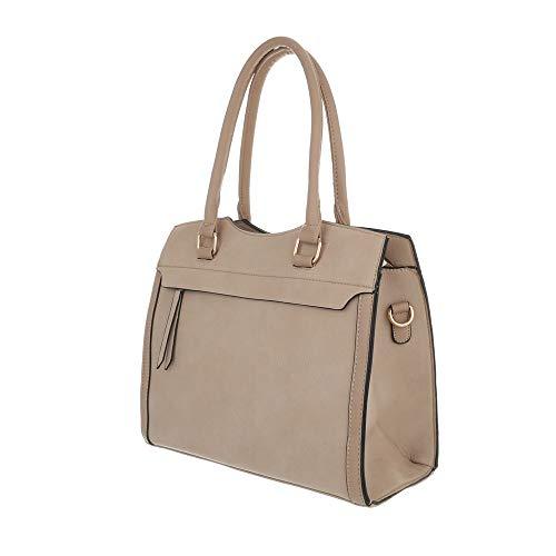 Bolso Sintético marrón Ital hombro Beige al Size de One Design beige mujer para CHx1qwA