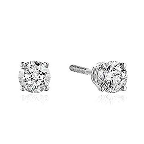 AGS Certified 3/4 Cttw Brilliant-Cut Diamond Classic 4-Prong Screw Back Stud Earrings (Color J-K, Clarity I2), 14K White Gold