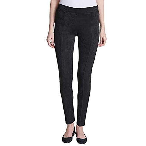 Andrew Marc Women's Super Soft Stretch Faux Suede Pull On Pants (Black, - Suede Black Pants