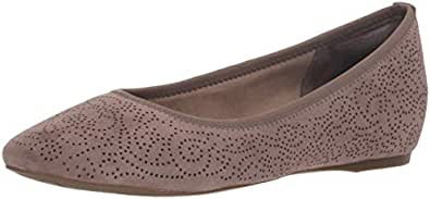Rockport Women's Total Motion Hidden Wedge 20MM Perf Ballet Flat, Warm Iron Kid Suede, 9 M US