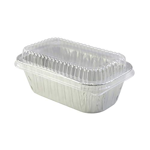 Disposable Aluminum 1 Lb. Loaf Pans with Clear Snap on Lid #5000p (100)