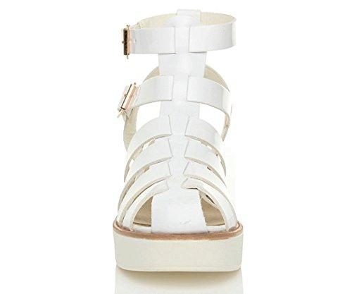 gladiateur plateforme spartiates talon Blanc sandales lanières Femmes Verni moyen pointure TxOE1