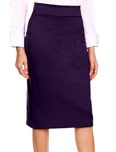 NE PEOPLE Womens Basic Elastic Waist Midi Knee Length Stretch Ponte Pencil Skirts ()