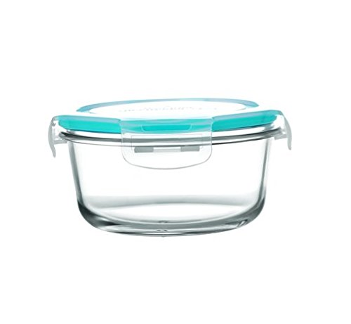 Cello Prego Camellia Round Glass Container Set, 800ml/18cm, Clear