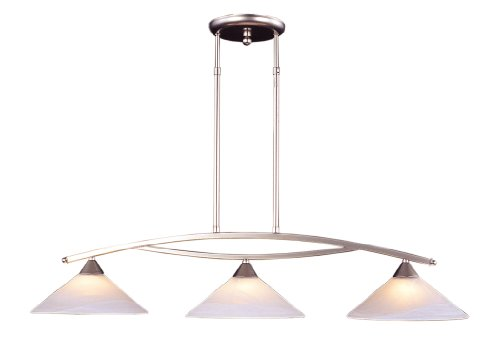Light Elysburg Chandelier 3 - Elk 6502/3 3-Light Island Light In Satin Nickel and Tea Swirl Glass