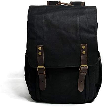 Color : Black, Size : 15 inches Bag Outdoor Leisure Waterproof Waxing SLR Camera Canvas Backpack Large Capacity Travel Camera Backpack
