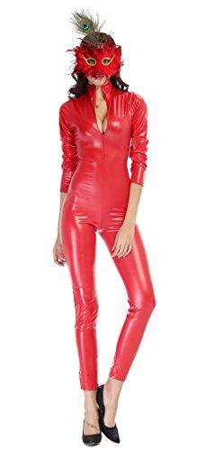 Bigood Combinaison Rouge Femme Jumpsuit Cuir Imité Halloween Déguisement Costume Clubwear