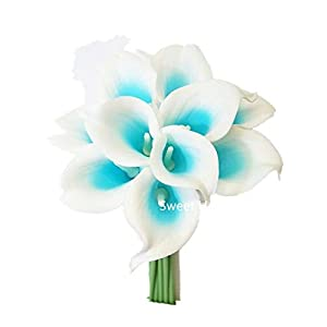 Sweet Home Deco Latex Real Touch 15″ Artificial Calla Lily 10 Stems Flower Bouquet for Home/Wedding (Blue)