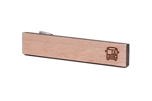 WOODEN ACCESSORIES COMPANY Wooden Tie Clips With Laser Engraved Bus Driver Design - Cherry Wood Tie Bar Engraved In The USA - Bus Bar Clip