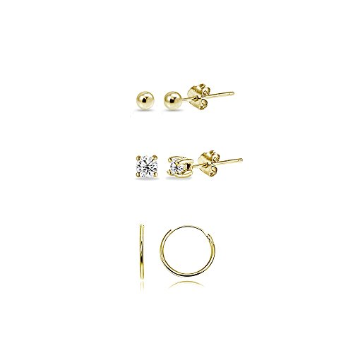 - 3 Pairs Gold Flash Sterling Silver 10mm Endless Hoops 2mm CZ & Ball Stud Unisex Cartilage Earrings Set