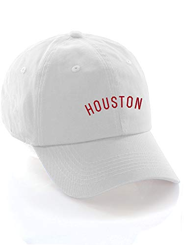Daxton USA Cities Baseball Dad Hat Cap Cotton Unstructure Low Profile Strapback - Houston White Red