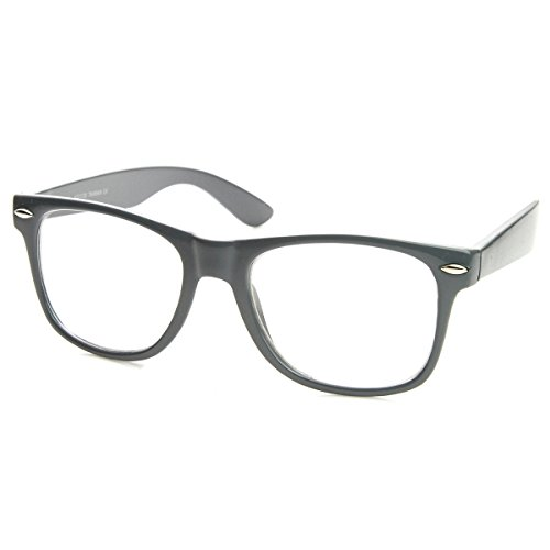 zeroUV - Vintage Inspired Eyewear Original Geek Nerd Clear Lens Horn Rimmed Glasses - Grey Glasses