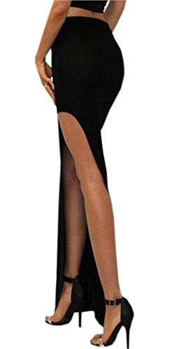 Mince Était Haute De Tavail Fourche Mode Latérale linie Ouverte Femmes Dabag Jupe Robe A Noir Travail Jupes Sexy Taille XwY0X4qx