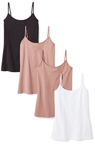 Amazon Essentials Women's 4-Pack Camisole, Walnut/Walnut/White/Black, Small