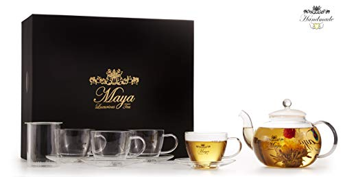Maya Luxurious Tea Accessories Box Set With Glass Teapot (40 oz.), Infuser, 4 Teacups, and 4 Saucers for Blooming & Loose Leaf Tea and Tea Bags :: Made of Durable Borosilicate Glass