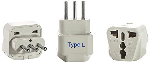 Ceptics Italy Travel Plug Adapter (Type L) - 3 Pack [Grounded & Universal]
