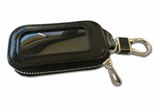 Snap Key Fob - Avolani Car Key FOB Case - Universal Pouch with Clear Window and Keyring Snap Hook for Keyless Entry Remote Switch and Keychains. Made of Heavy Duty Genuine Top Grade Leather That Lasts. (Black)