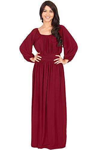 KOH KOH Petite Womens Long Sleeve Sleeves Vintage Peasant Empire Waist Fall Loose Flowy Fall Winter Casual Maternity Abaya Gown Gowns Maxi Dress Dresses, Crimson Red S ()