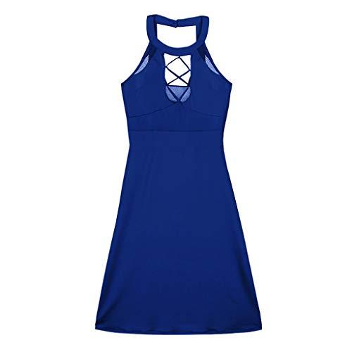 YKARITIANNA Women Plus Size Sexy Hanging Neck Mesh Openwork Straps Slim Mini Dress 2019 Summer Blue
