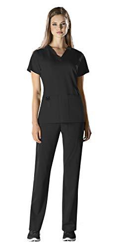 WonderWink HP Women's Medical Uniforms Scrub Set Bundle- 6112 Sync V-Neck Scrub Top & 5112 Hybrid Pull On Scrub Pants & MS Badge Reel (Black - Medium/Large Petite) - Sync Black