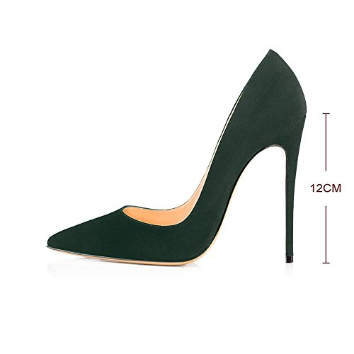 Heels Green Women's Wedding Shoes Dark Party Pumps Size Large Stilettos Modemoven Pointy Suede Toe High Slip On Evening SIBqqwdaR