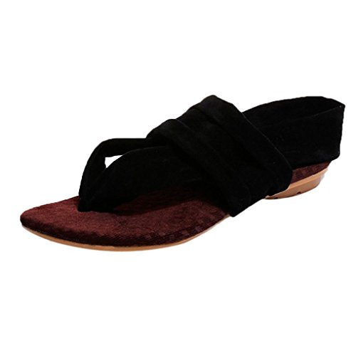 Souple Sandales BohèMe Sexy Chaussures Flop Forme Tongs Semelle Femmes Beautyjourney Plate Flip Femmes Beach Noir Talons Chaussures Sandales A pvqXxw