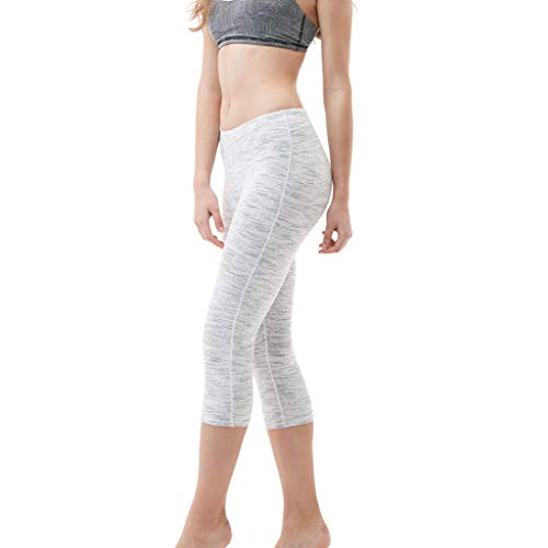 ALLYOUNG Women's Solid Color Hip High Waist Seven Points Yoga Pant Running Sports Pants White