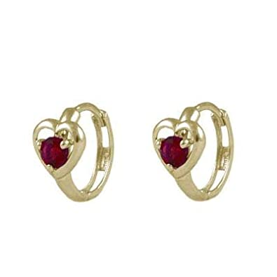 b7920e07f Baby And Toddler 14K Yellow Gold Heart Simulated January Birthstone Hoop  Earrings