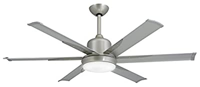 "TroposAir DC-6 Brushed Nickel Industrial Ceiling Fan with 52"" Extruded Aluminum Blades, Integrated Light, DC-Motor and Remote"
