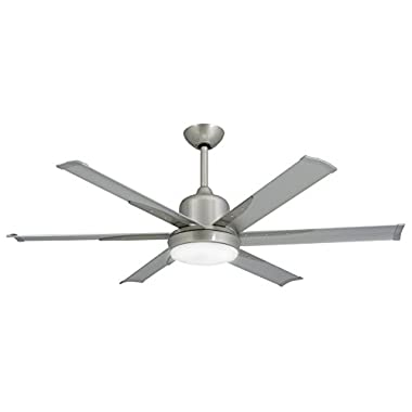 TroposAir DC-6 Brushed Nickel Industrial Ceiling Fan with 52  Extruded Aluminum Blades, Integrated Light, DC-Motor and Remote