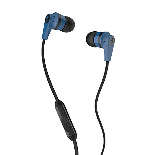 (Skullcandy Ink'd 2.0 Wired Earbuds with in-Line Microphone and Remote, Tangle-Reducing Flat Cable, Noise-Isolating Supreme Sound with Powerful Bass and Precision Highs, Blue/Black)