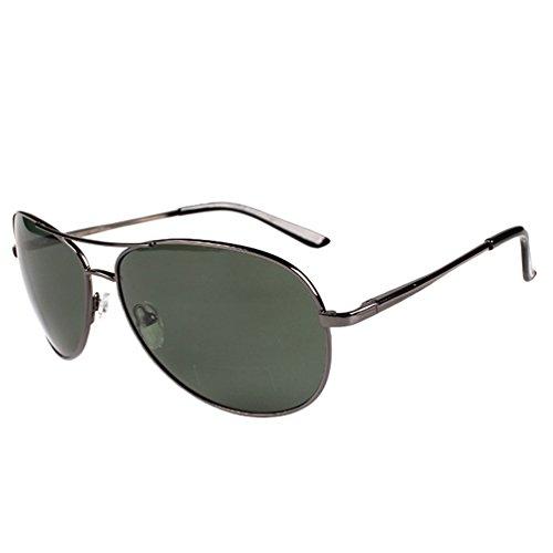 Hombre Lente Gafas Oscuro LINNUO Gafas Cadre Aviador Gris de en Marco Polarizadas Sol Protección Sunglasses UV Verde Métal Mujer Drive Eyeglasses ztqdAwnxqg