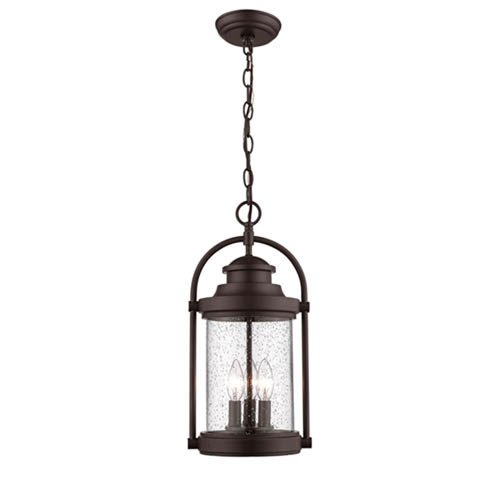 Millennium Lighting Powder Coat Bronze Three-Light Outdoor Hanging Lantern with Clear Seeded Glass
