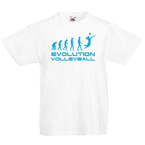 lepni.me Kids T-Shirt The History and Evolution of Volleyball Game (12-13 Years White Blue) -
