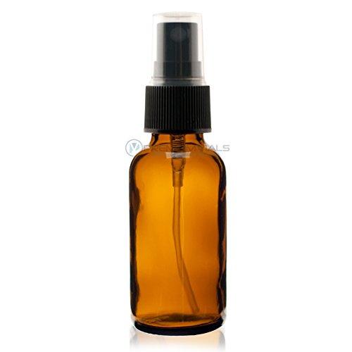 2 Oz (60 ml) AMBER Boston Round Glass Bottle w/Black Fine Mist Sprayer - 12 pcs