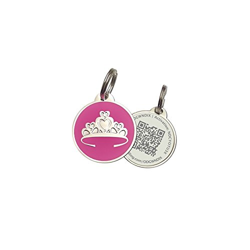 PetDwelling Advanced QR Code Pet ID Tag Links to Free Online Pet Profile/Scanned GPS Location (Holiday Deal) (Pink Tiara)