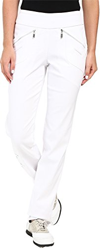 Jamie Sadock Women's Skinnylicious 41.5 in. Pant with Control Top Mesh Panel Pure White Pants 14 X 32 by Jamie Sadock