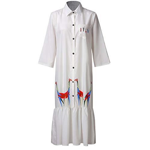 (Lemoning , Women's Dress Summer Stand Dropped Giraffe Print Dress Mid-Calf Button Loose Half Dress White)